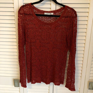 Lacey Red Blouse Perfect for Holidays!